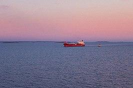 Een vrachtschip op het Skagerrak