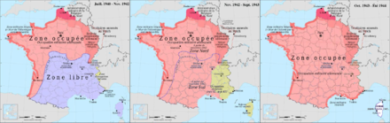 Progressive end of the Vichy regime France map Lambert-93 with regions and departments-occupation evolution.PNG