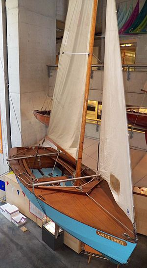 Wayfarer (dinghy) - Wanderer - sail No W48, the open sailing dinghy of the Wayfarer class that Frank Dye sailed to Iceland in 1963 and Norway in 1964. Now in UK National Maritime museum, Falmouth, Cornwall.