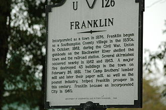 A historic sign in downtown Franklin with information on the Civil War and Union Camp Franklin VA sign.JPG