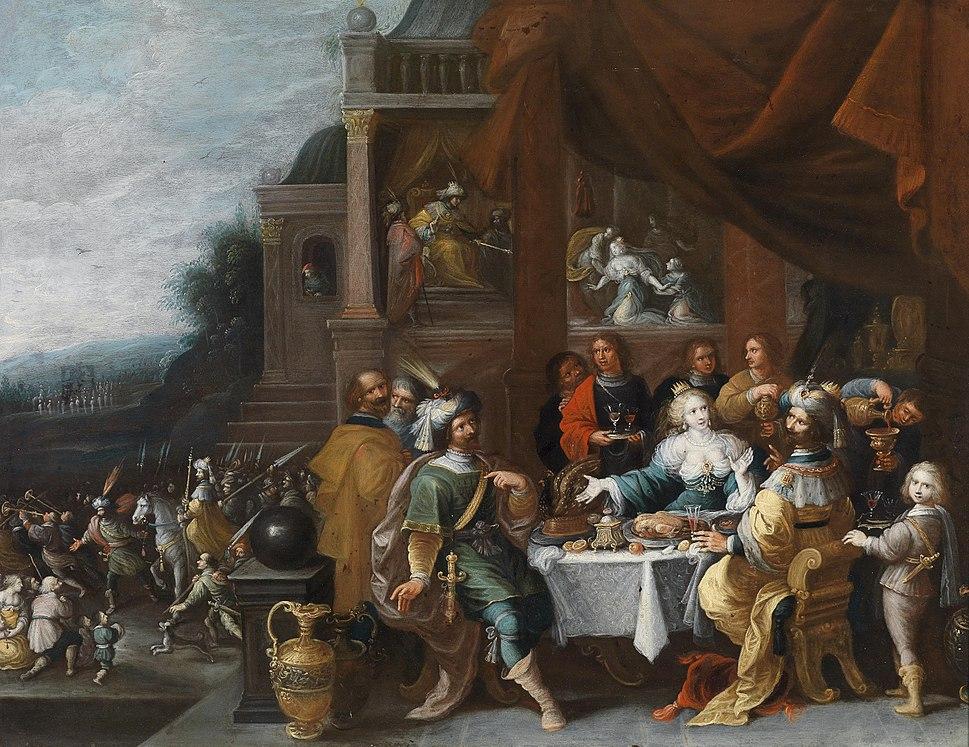 Frans Francken dJ (Umkreis) Ahasver und Haman beim Gastmahl der Esther