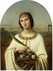Saint Dorothey with a crown of roses and a palm branch (the attribute of both her virginity and her martyrdom)