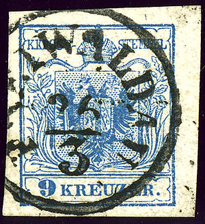 Jeseník - Austrian KK stamp with German name, around 1855
