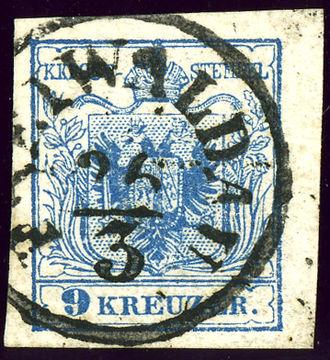 Jeseník - Austrian KK stamp with German name, around 1855