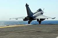 French Navy Rafale jet launches from the flight deck of the aircraft carrier USS Harry S. Truman (CVN 75) during carrier launch and recovery qualifications..jpg