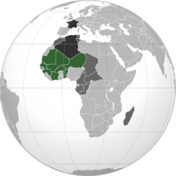 French West Africa after World War II Green: French West Africa Dark grey: Other French possessions Darkest grey: French Republic