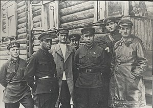 White Sea–Baltic Canal - Chief of works Naftaly Frenkel (rightmost), head of GULAG Matvei Berman (center), chief of the southern part of the canal Afanasyev (second from left)
