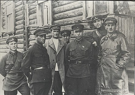 Naftaly Frenkel (far right) and head of GULAG Matvei Berman (center) at the White Sea–Baltic Canal works, July 1932 Frenkel2.jpg