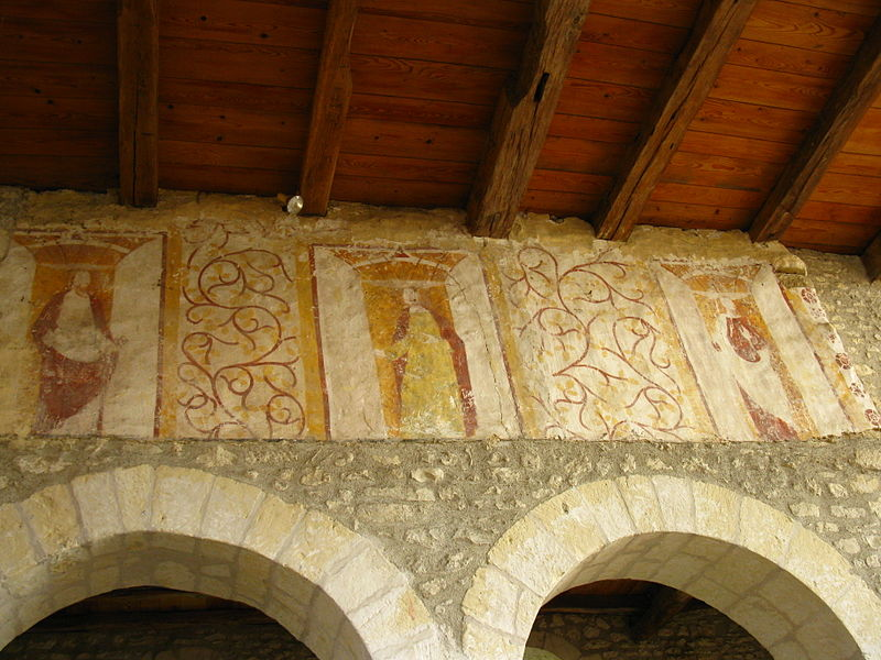 Frescos on the North wall of the nave of the Saint-Hippolyte church in Faverolles-and-Coëmy (France, 51) ; 14th or 15th century