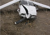 An aircraft damaged in a fatal accident