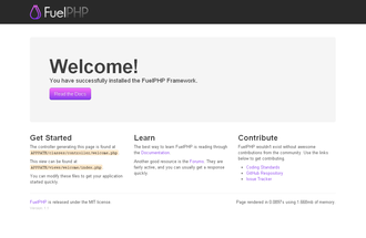FuelPHP - Image: Fuel PHP post install screen