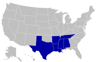 Gulf Coast Athletic Conference - Image: GCAC conference map