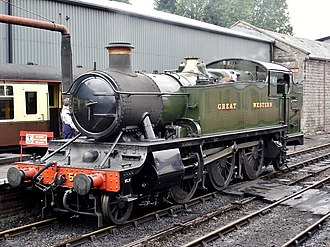GWR 5101 Class - Preserved 5101 Class locomotive 5164 at Bridgnorth, Severn Valley Railway, painted in Great Western green livery.