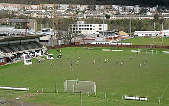 Netherdale - Netherdale, with the football stadium in the foreground and the rugby stadium beyond