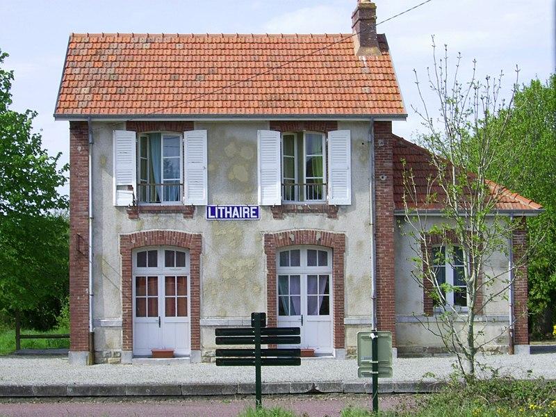 Halte de Lithaire sur la ligne de chemin de fer de Carentan à Carteret