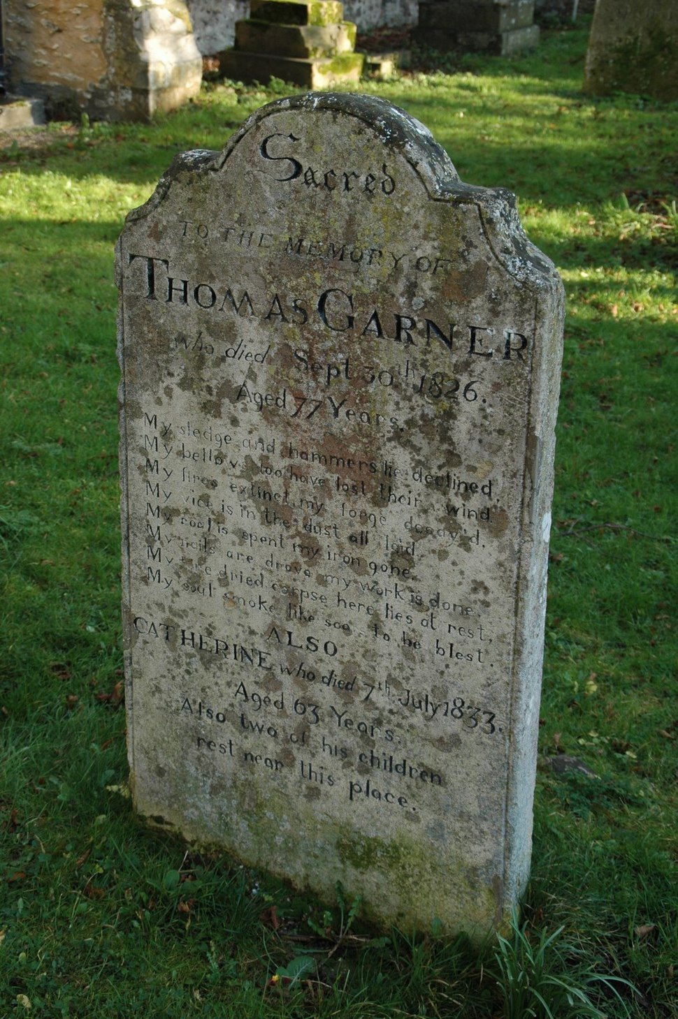 Garner headstone with eitaph, Houghton, Cambridgeshire