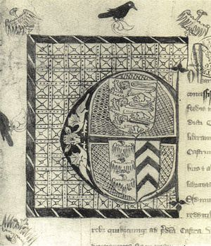 Piers Gaveston, 1st Earl of Cornwall - Initial from the charter granting Gaveston the earldom of Cornwall, showing the arms of England at top, and Gaveston's coat of arms impaled with those of de Clare below.