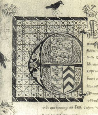 Initial from the charter granting Piers Gaveston the earldom of Cornwall Gaveston Cornwall charter.jpg