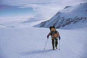 Vinson Massif - Gavin Bate ascending Mount Vinson in 2000