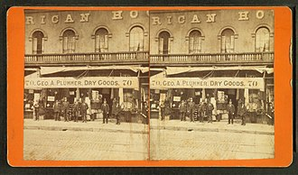 American House (Boston) - Image: Geo. A. Plummer Dry goods store showing men in front and goods visible, by Rand & Bird