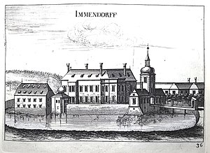 Schloss Immendorf - Schloss Immendorf in the Topographia Austriae inferioris, 1672. Engraving by Georg Matthäus Vischer.