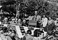 George McGovern speaks to many ILGWU supporters at an open-air campaign rally, October 15, 1972. (5279521302).jpg