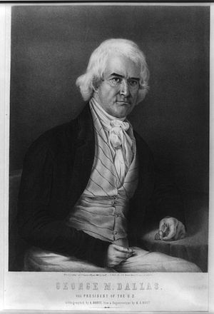 Alfred Hoffy - U.S. Vice-President George Mifflin Dallas in a lithography by Alfred Hoffy after a daguerreotype by M.A. Root.