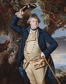 The Earl Cowper raising his hat in a painting by Zoffany