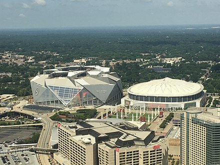 The Georgia Dome (right) and Mercedes-Benz Stadium on July 2, 2017 Georgia Dome 2017.JPG