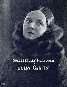 "Julia Gerity, from a photograph on the cover of sheet music ""Sweetness"" (words by Bob Schafer and Dave Ringle, music by Jimmy Durante), 1921"