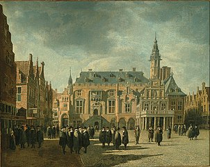 Haarlem City Hall with figures on the Grote Markt