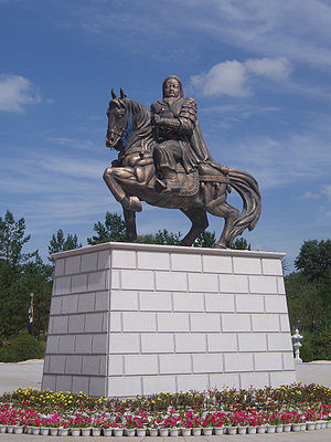 Genghis Khan statue before his Mausoleum in Or...