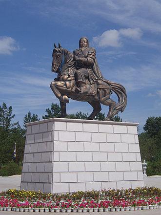 Ordos City - Genghis Khan Equestrian Sculpture in Ordos City