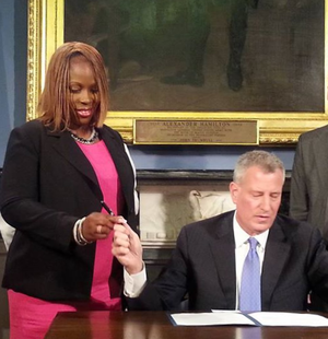 Vanessa Gibson - Gibson with Mayor Bill de Blasio during the Legionnaires Bill Signing. Taken August 18, 2015.