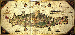 Giorgio Sideri - Callapoda da Candia's map of his native island (1562).