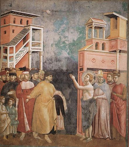 St. Francis of Assisi renounces his worldly goods in a painting attributed to Giotto di Bondone. Giotto - Legend of St Francis - -05- - Renunciation of Wordly Goods.jpg