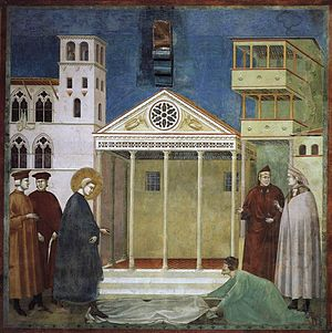 Giotto di Bondone - Legend of St Francis - 1. Homage of a Simple Man - WGA09118.jpg