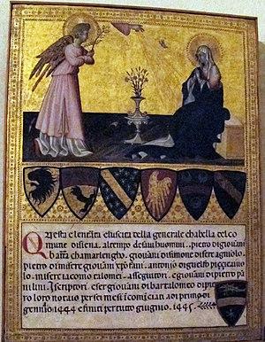 Biccherna - Image: Giovanni di paolo, biccherna con annunciazione, 1445