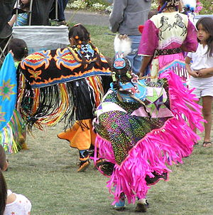 Fancy dance - Young girls fancy shawl dancing at Spokane Powwow