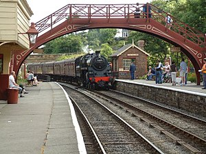 Transport Trust - Goathland railway station on the North Yorkshire Moors Railway, showing preserved rolling stock, buildings and infrastructure.
