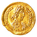Gold Solidus of Honorius - obverse YORYM 2001 12465 3.jpg