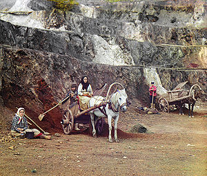 Bakal, Russia - Work at the Bakal mines. Photo by Sergey Prokudin-Gorsky, 1910