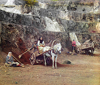 Ural Mountains - A mine in the Ural Mountains, early colour photograph by Sergey Prokudin-Gorsky, 1910