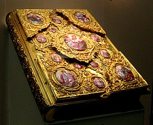 Matins Gospel - Gospel Book from 1772. The central medallion depicts the Resurrection of Jesus, in the corners are the Four Evangelists (Moscow)
