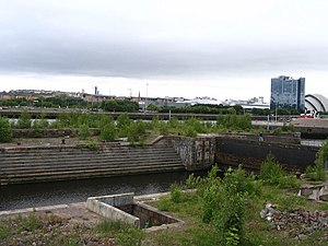 Pacific Quay - The derelict Govan Graving Docks complex.