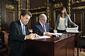 Governor Mark Dayton signing Minnesota budget bills, 20 July 2011.jpg