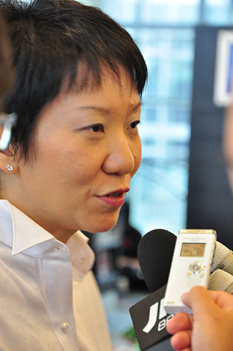 Grace Fu - Grace Fu speaking to reporters at the launch of the 2010 Summer Youth Olympics' Million Deeds Challenge on 26 April 2009.