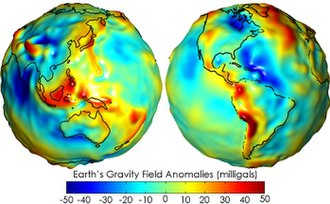 Earth's gravity measured by NASA's GRACE mission, showing deviations from the theoretical gravity. Red shows where gravity is stronger than the smooth, standard value, and blue shows where it is weaker. Geoids sm.jpg
