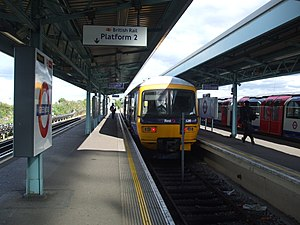 Greenford branch line - The bay platform at Greenford station. A Paddington train awaits departure.