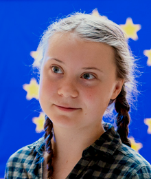 Portrait of Thunberg at the European Parliament